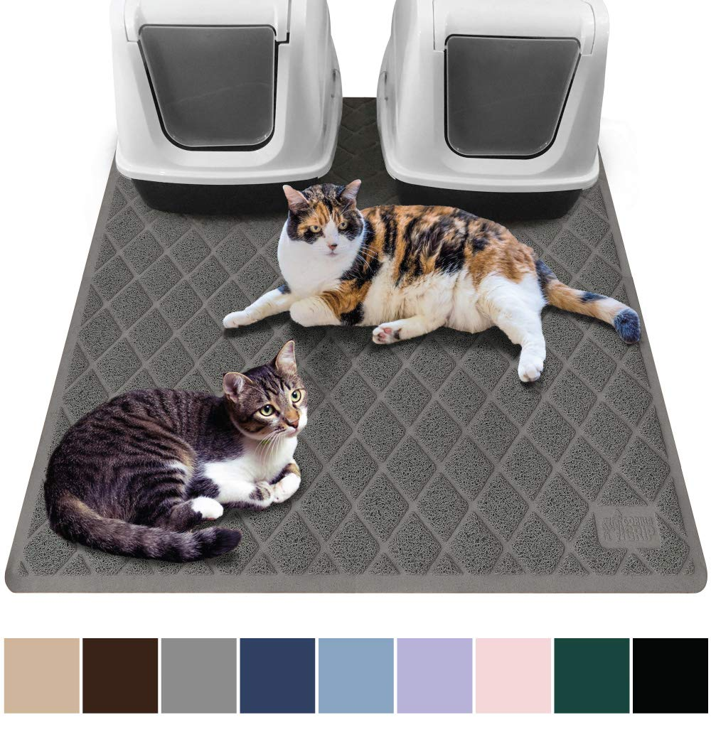 Gorilla Grip Original Premium Durable Multiple Cat Litter Mat, 47x35, XL Jumbo, No Phthalate, Water Resistant, Traps Litter from Box and Cats, Scatter Control, Mats Soft on Kitty Paws, Gray by Gorilla Grip