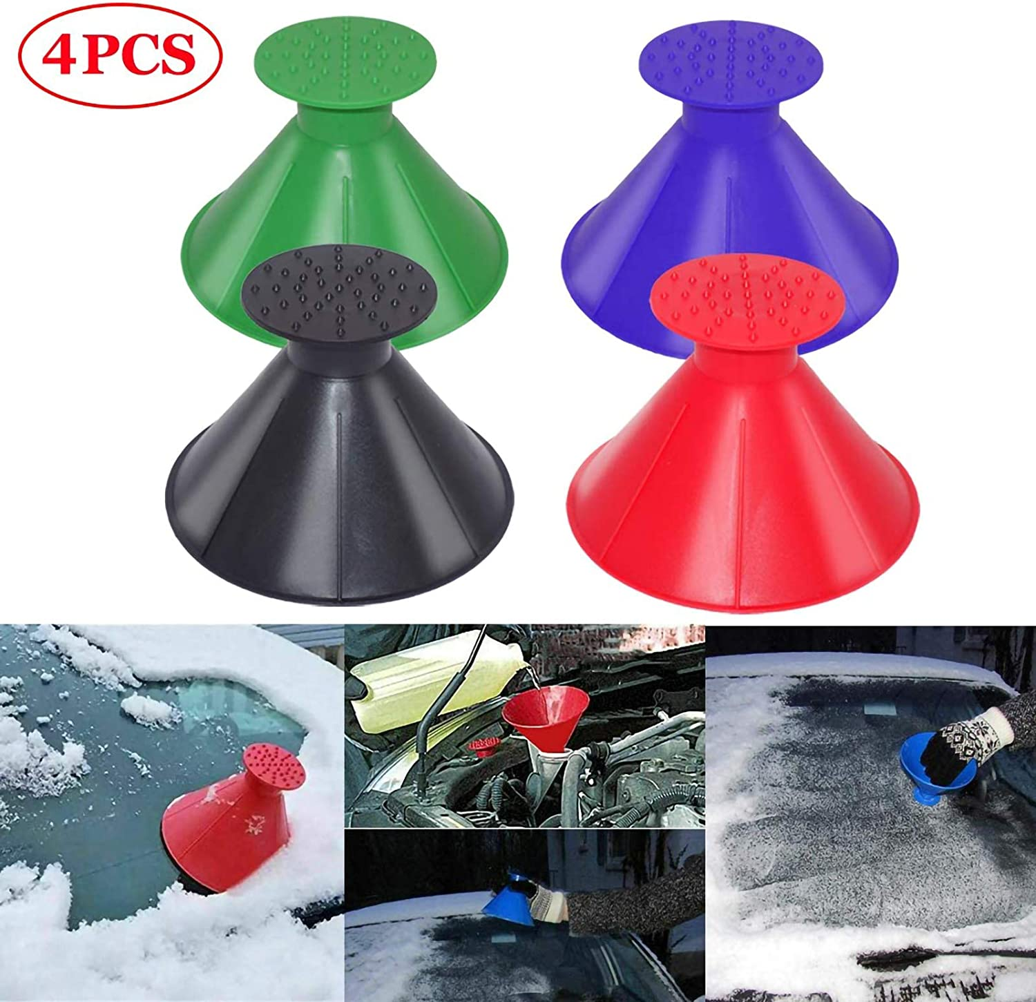 reakoo Ice Scraper for Car Windscreen Car Ice Scraper Handle Ice Snow Frost Scraper for Cars Use in Most Winter Conditions 1PCS Red
