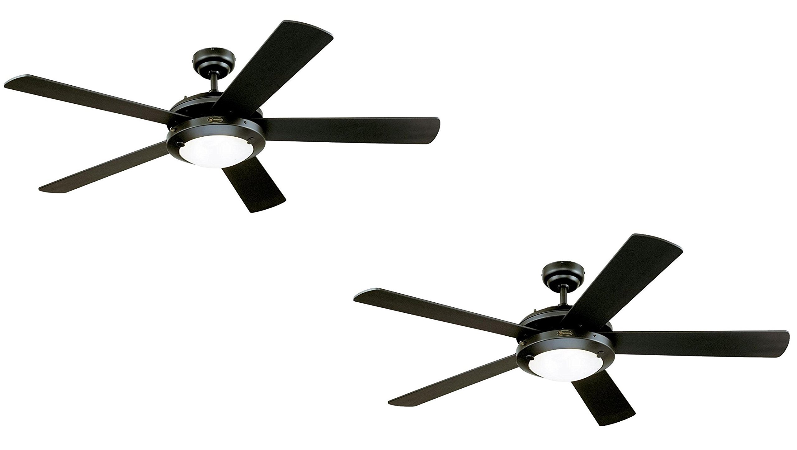 Ciata Lighting 52-Inch Matte Black Indoor Ceiling Fan, Light Kit with Frosted Glass (Black 2 Pack)