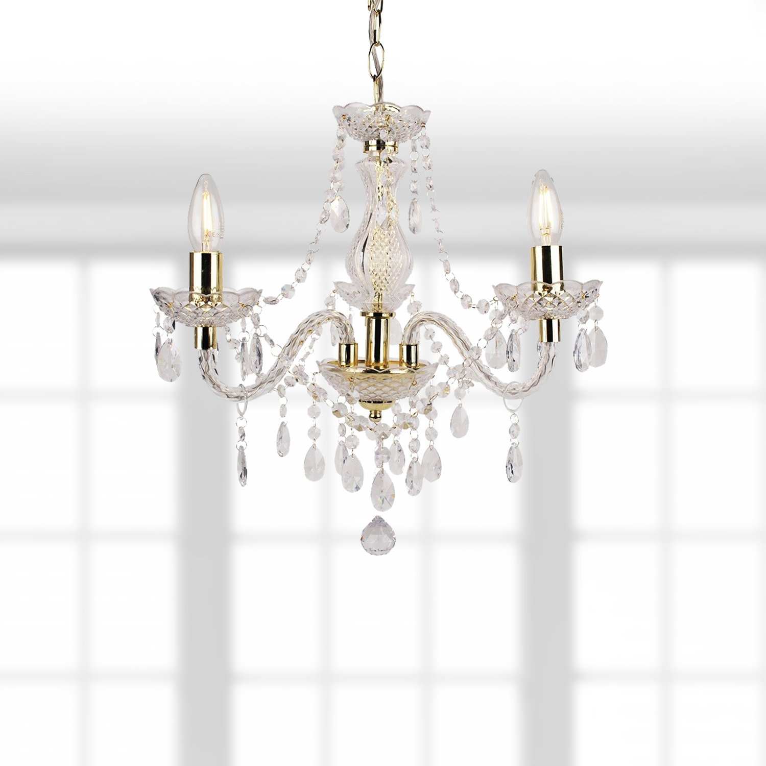 Clear and Gold Marie Therese Style 3 x 40W Chandelier First Choice Lighting