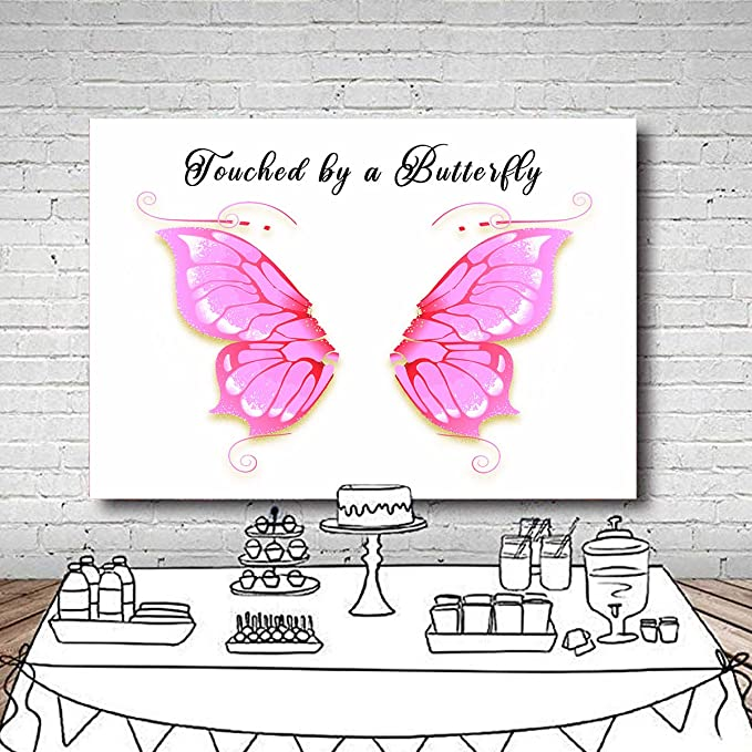 5x5FT Vinyl Photography Backdrop,Butterflies,Harp Ornament Butterfly Background Newborn Birthday Party Banner Photo Shoot Booth