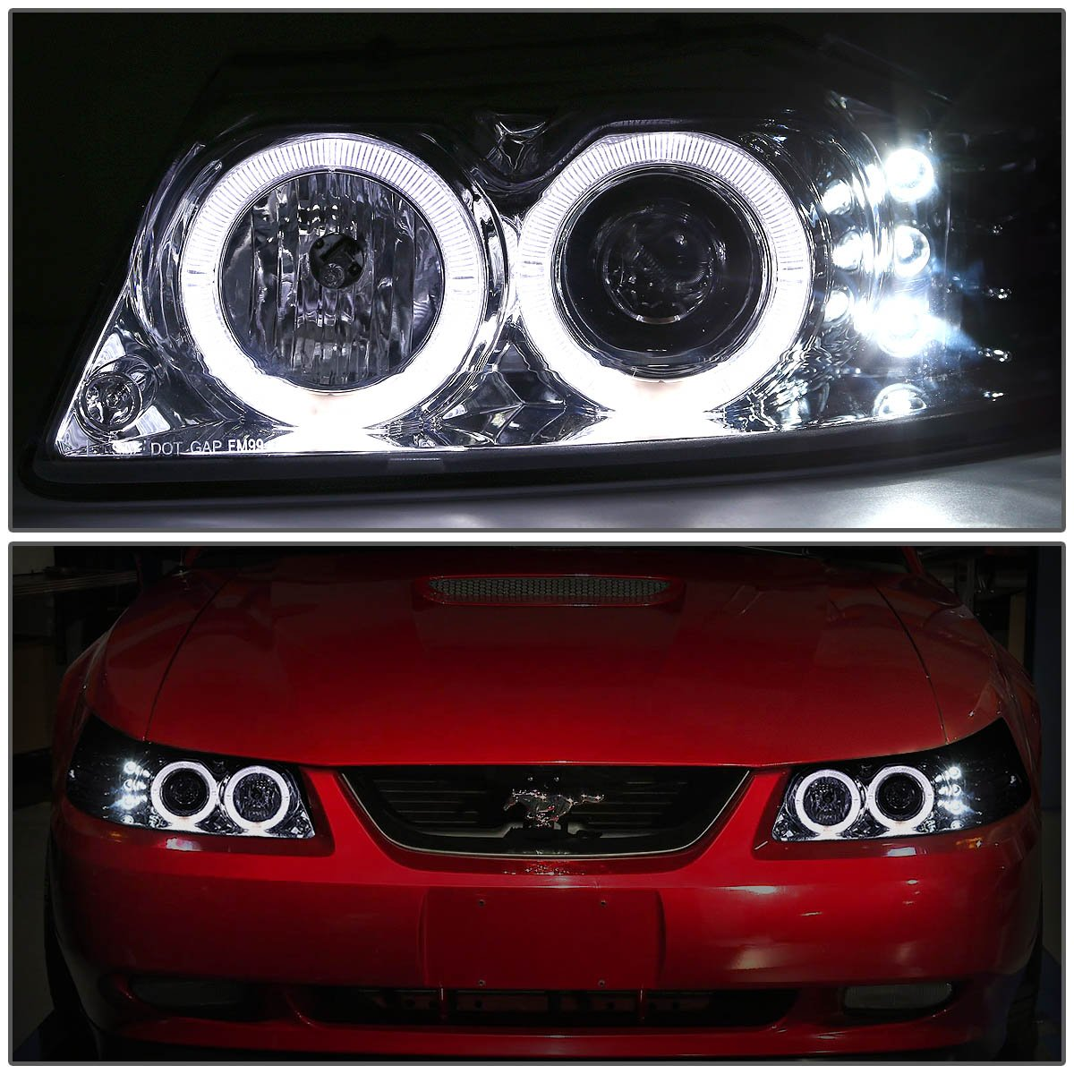 For Ford Mustang Sn95 Chrome Housing Amber Corner Dual 1988 Fog Lights Halo Projector Led Headlight Smoked Drl 8 Light Automotive