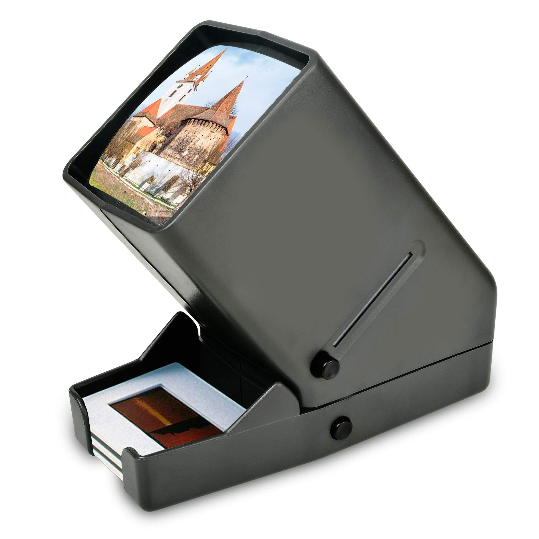 Rybozen 35mm Film and Slide Viewer, 3X Magnification and Desk Top LED Lighted Illuminated Viewing and Battery Operation-for 35mm Slides & Positive Film Negatives by Rybozen (Image #1)