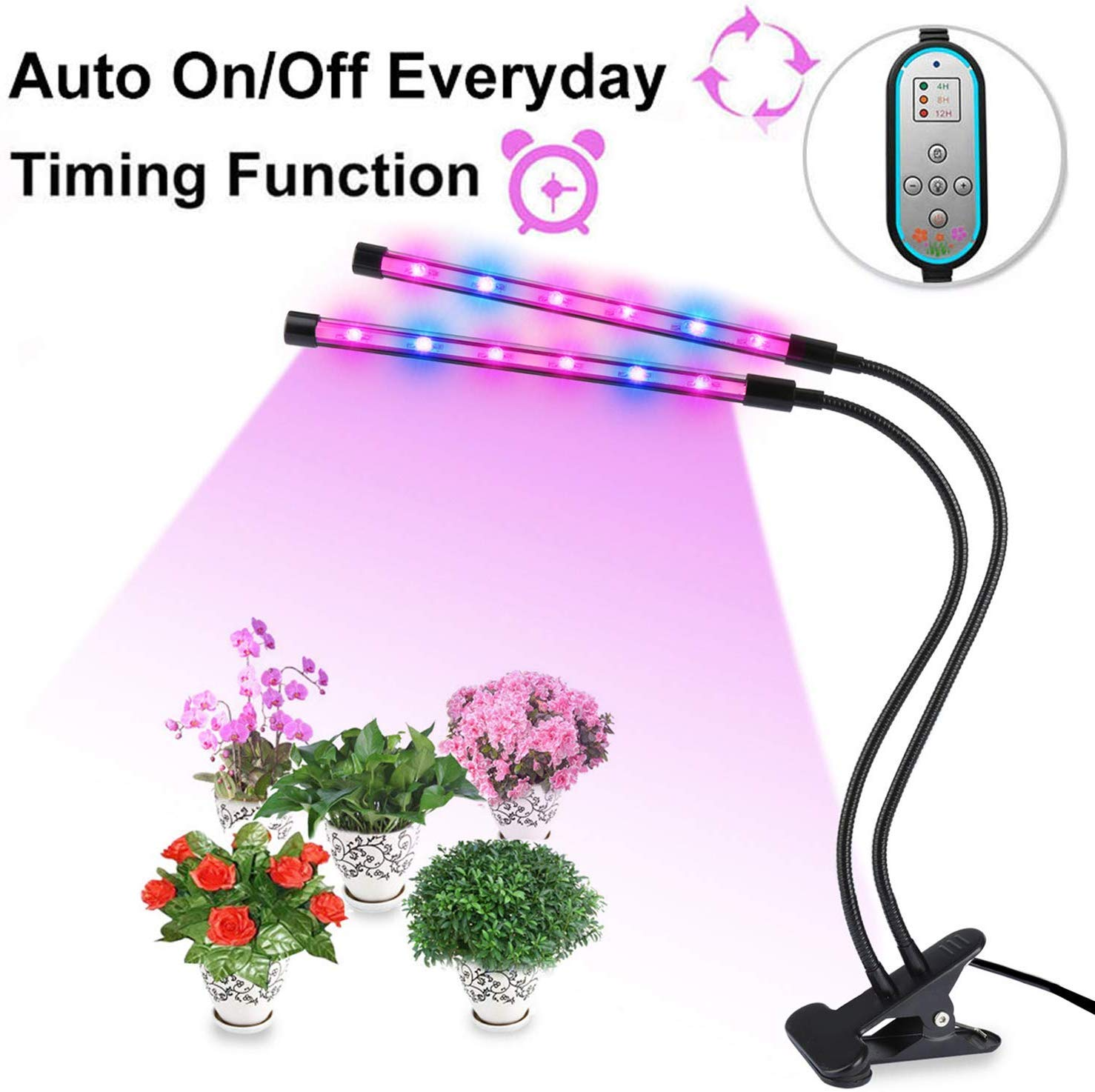 Plant Lamp Dual Head Grow Light Timing 24W 360 Gooseneck with 8 Dimmable Levels, 4 8 12 H Timer for Indoor Plants Hydroponics Greenhouse Gardening by Domserv 2018 Upgraded