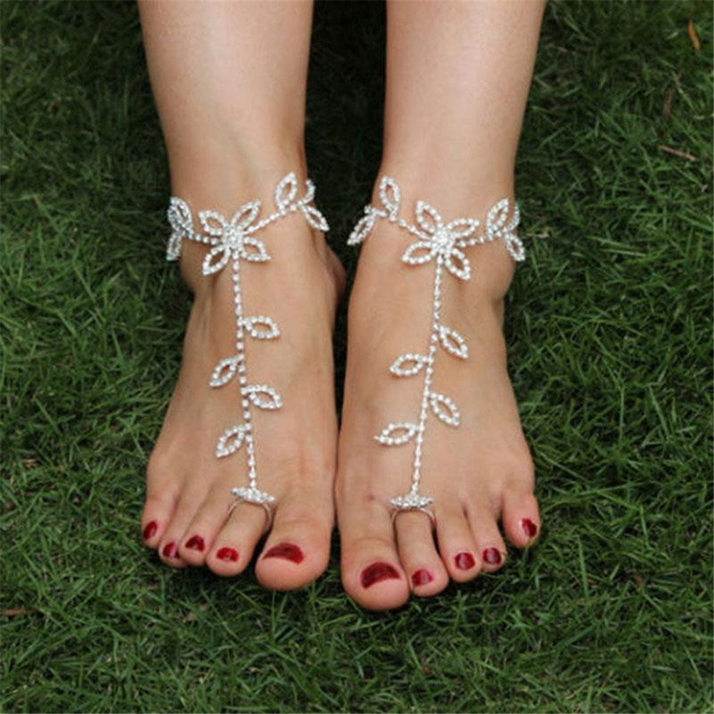 JaneDream 1 x Perfect Bridal Crystal Barefoot Sandals Foot Chain for Beach