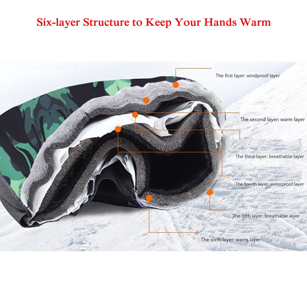 M, Sun Flower Waterproof Ski Mittens Insulated Cold Weather Mitts for Women