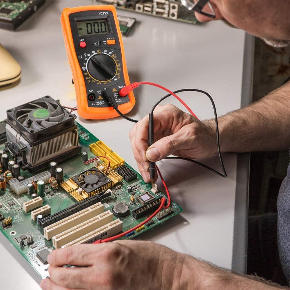 orange Multim/ètre num/érique Zorara Multim/ètre AC//DC Voltm/ètre DC r/ésistance transistor Diode testeur de tension testeur de tension avec /écran LCD