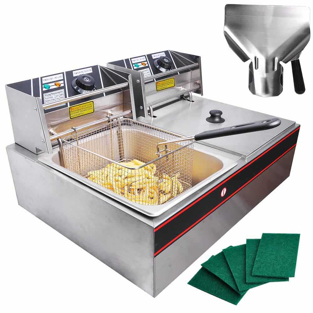 Pro Commercial Stainless Steel Dual Tanks 12L Baskets Lid Covers 5000W Electric Deep Fryer w/ Scoop Pads for Countertop Home Restaurant Appliance Heavy Duty