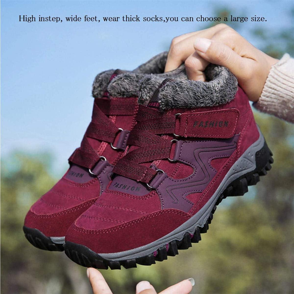 gracosy Mujer Botas de Nieve Senderismo Zapatos Antideslizantes Trekking Zapatos Invierno Piel de Forro Sneakers Transpirables