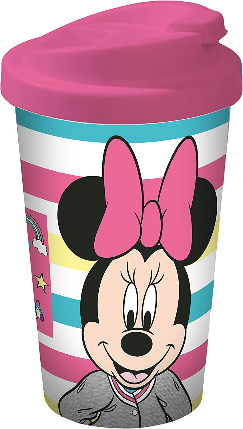 Disney Mickey Mouse 12079 Minnie Mouse Coffee to Go Mug, Travel Cup, Reusable Cup, Polypropylene, 400 ml, Multi-Coloured