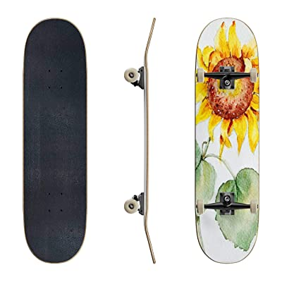 EFTOWEL Skateboards Original Art Watercolor Sun Flower Sunflower Stock Illustrations Classic Concave Skateboard Cool Stuff Teen Gifts Longboard Extreme Sports for Beginners and Professionals : Sports & Outdoors [5Bkhe1005011]