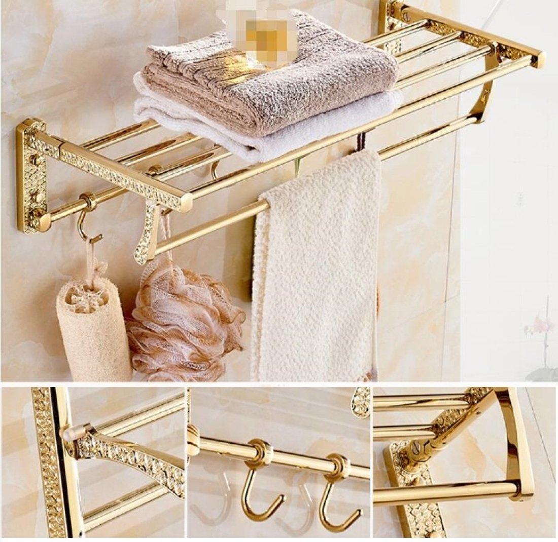 GL&G European Luxury Gold Copper Bathroom Bath Towel Rack Double Towel Bar Bathroom Storage & Organization Holder Towel Bars Wall Mount Bathroom Accessories Bath Wall Shelf Rack,6023.513.5cm by GAOLIGUO (Image #1)