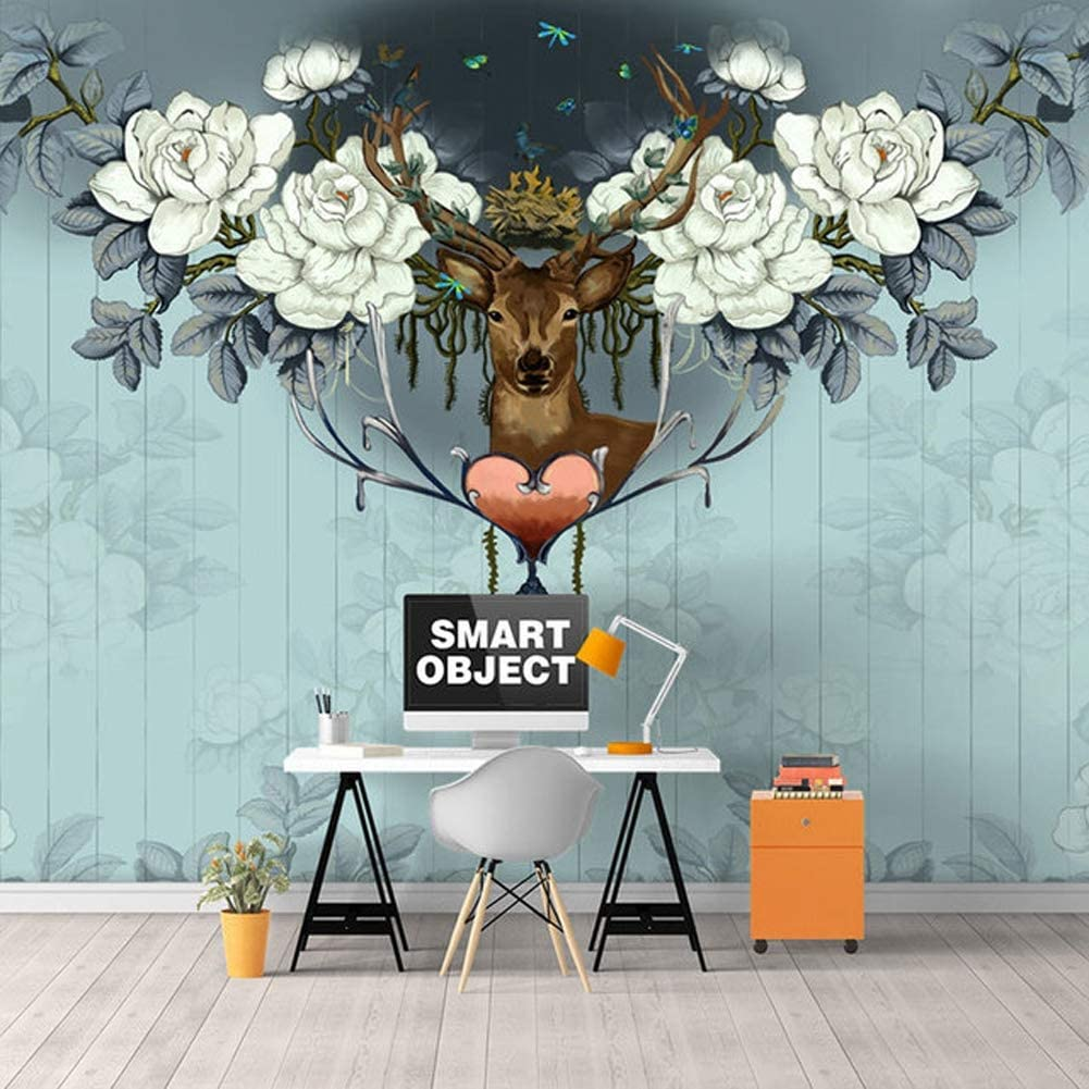 Z Ss Vintage Floral Elk Straw Embossed Modern Mural Photo Wallpaper Wall Covering Tv Background Wall Paper For Kid Living Room Sofa 448cm 280cm Amazon Co Uk Kitchen Home