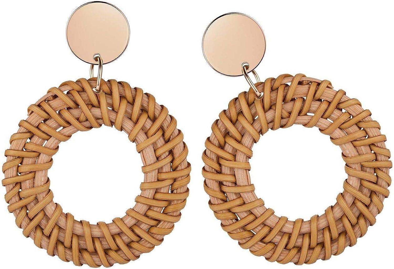 Woven Straw Lightweight Bohemian Statement Earrings for Women Girls Charmire Rattan Hoop Drop Dangle Handmade Earrings for Women