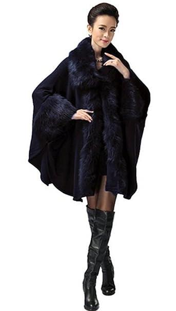 Amazon Mujer Abrigo Capa Oscuro Plaer Ropa es Azul Para dqY4xqtwR
