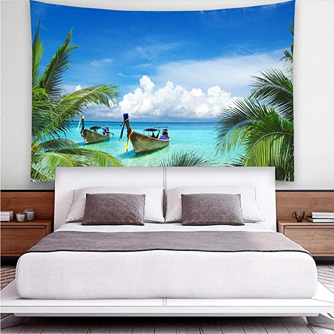 108x81Inch Boat Ocean Blue Sky Wall Tapestry for Dorm Decor YISURE Tapestry Large Size Tropical Beach Palm Coconut Trees Wall Tapestry