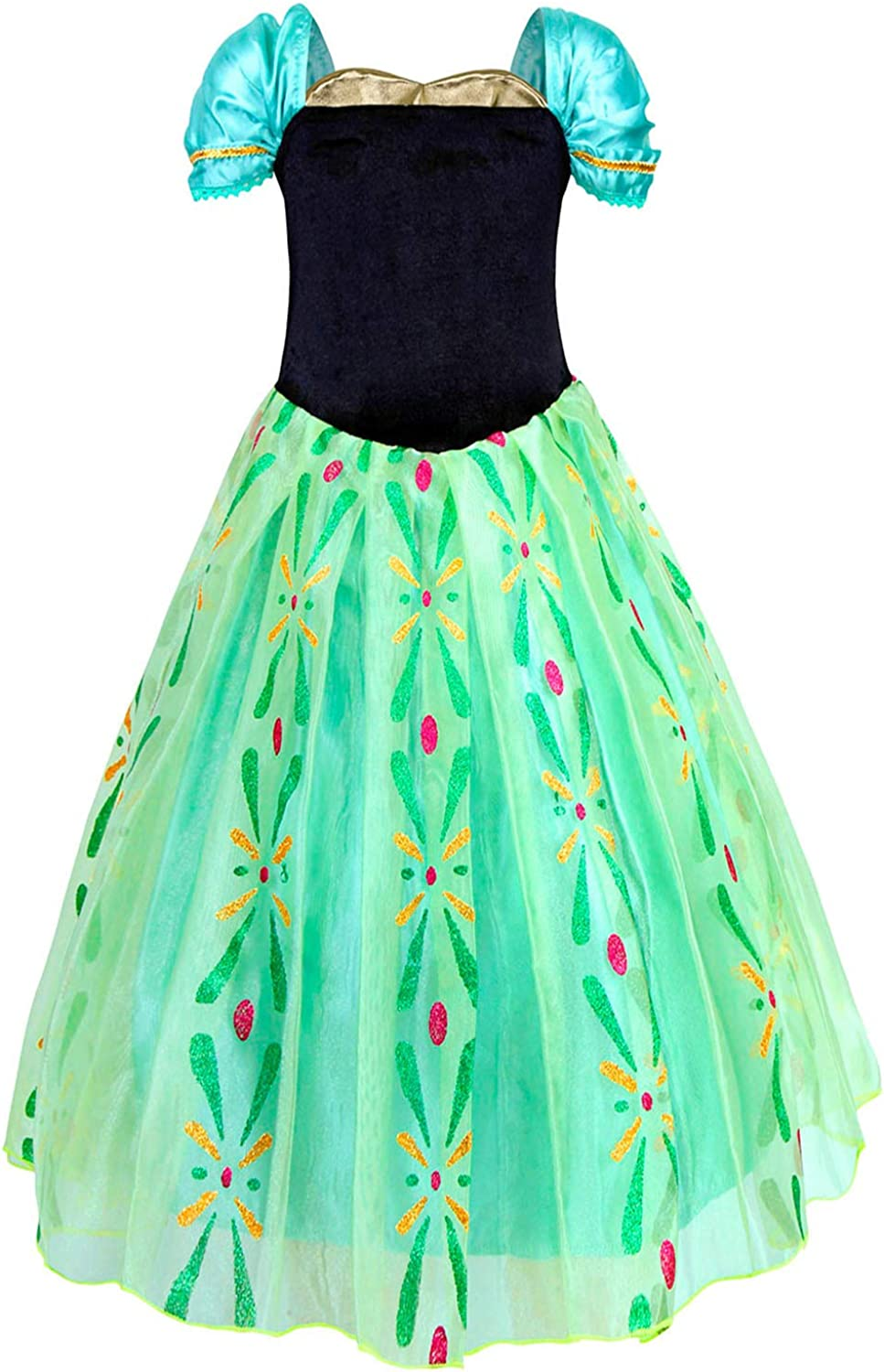 HenzWorld Princess Costume Dress Birthday Party Queen Role Cosplay Outfits Jewelry Accessory Green Little Girls
