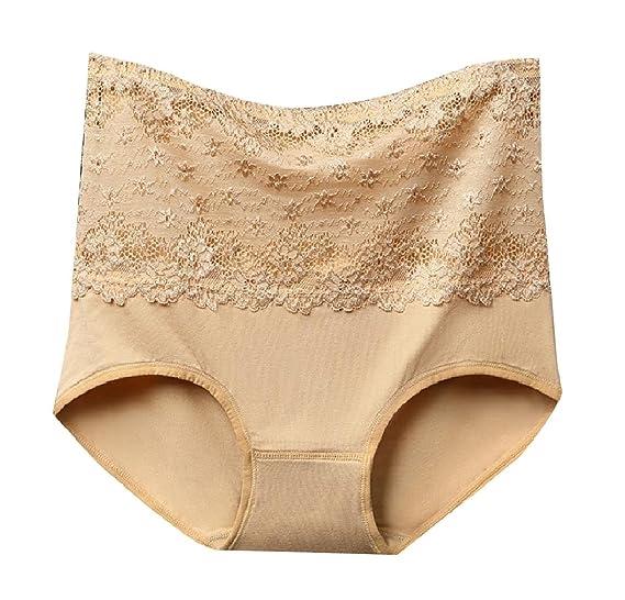 8e4e57adb88c2 YUNY Womens Lace Shapewear Highwaist 3 Pack Bikini Briefs Panties Apricot M
