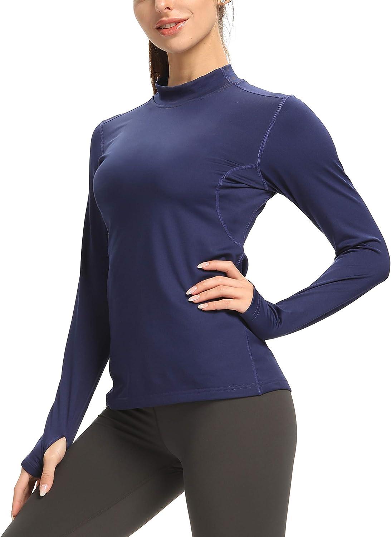 Womens Thermal  Fleece Mock Neck Base Layer Long Pants for Running Jogging Yoga