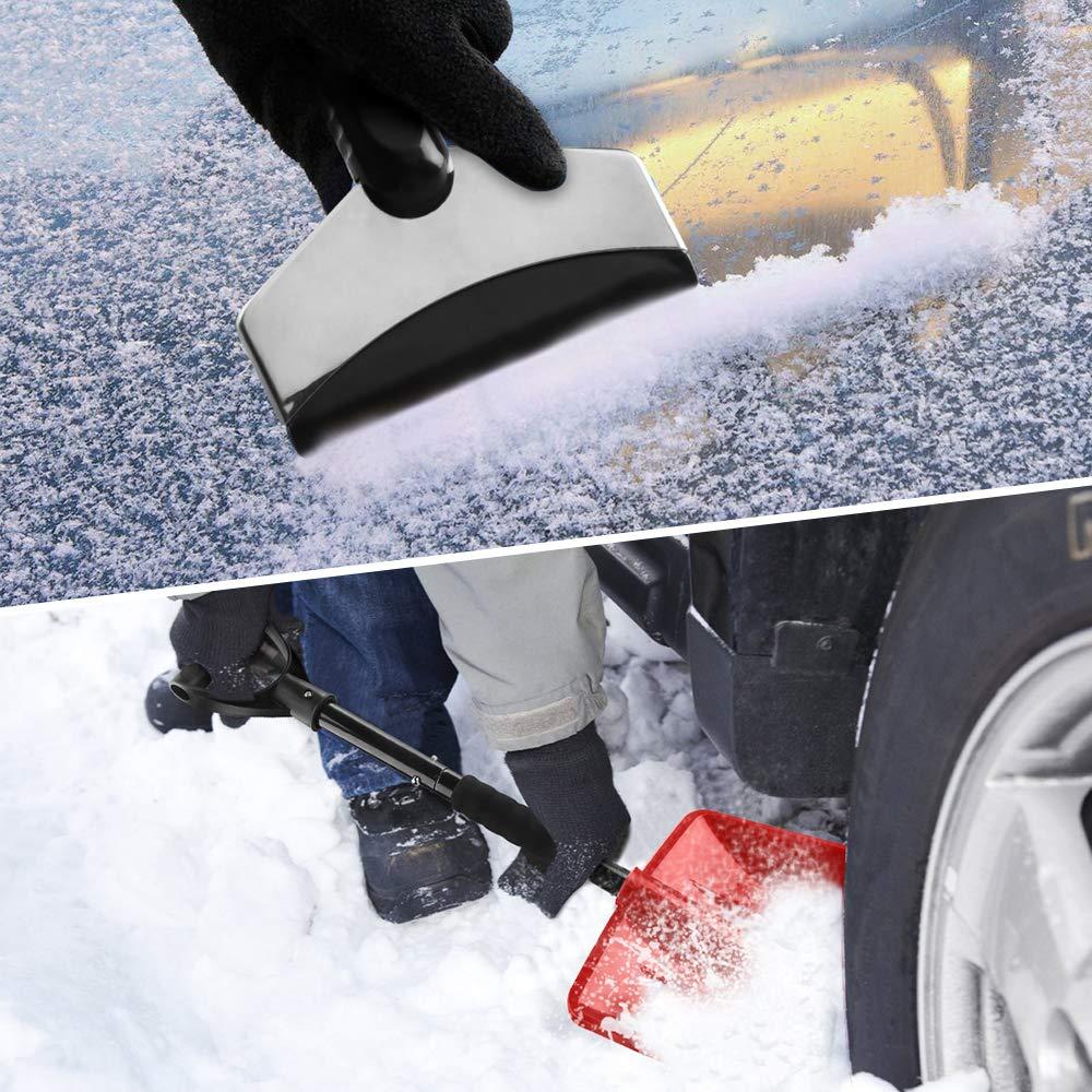 Schneeschaufel ideal f/ür Einfahrten IPSXP Mit Edelstahlstange und 10,6-Zoll-Breitmesserschaufel mit Aluminiumkante Camping und Notf/älle im Freien