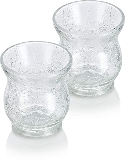 Amazon Com Juvitus 2 Pack Of Elegant 3 5 Tall Clear Glass Cracked