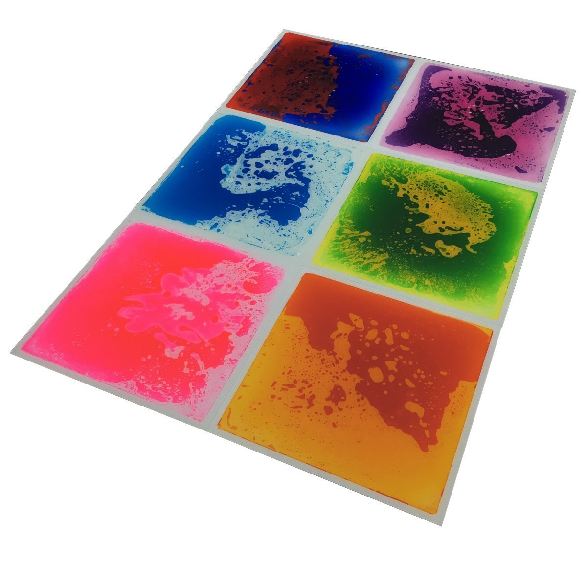 Art3d Multi Color Exercise Mat Liquid Encased Fancy Playmat Kids Safety Play Floor Tile