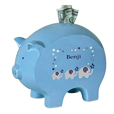 Personalized Blue Piggy Bank with Navy Elephant Design : Baby