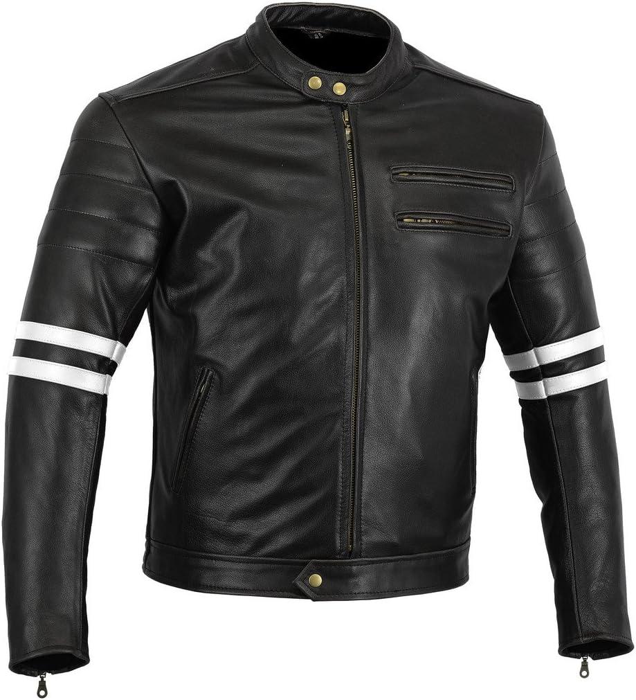 Australian Bikers Gear chaqueta moto Cafe Racer en color negro envejecido y rayas rojas oxblow con protecciones homologadas y extraíbles en talla L Australian Bikers Gear chaqueta moto Cafe Racer en