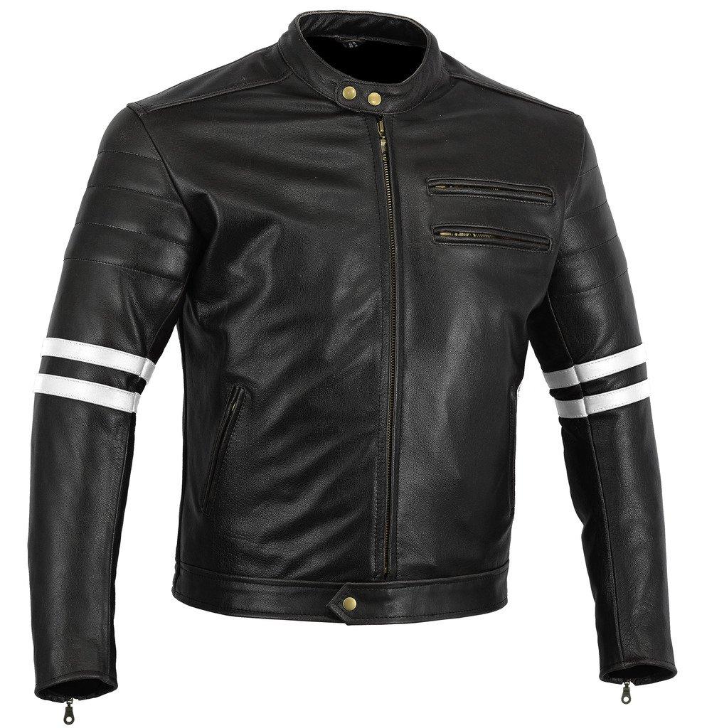 ce11cff3470 Australian Bikers Gear chaqueta moto Cafe Racer en color negro envejecido y  rayas rojas oxblow con