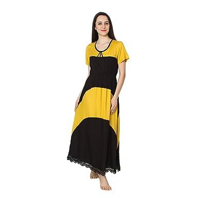 394cd0ea4b Patrorna Blended Women s Bodycon Nighty Night Dress Gown in Yellow Black (Size  S