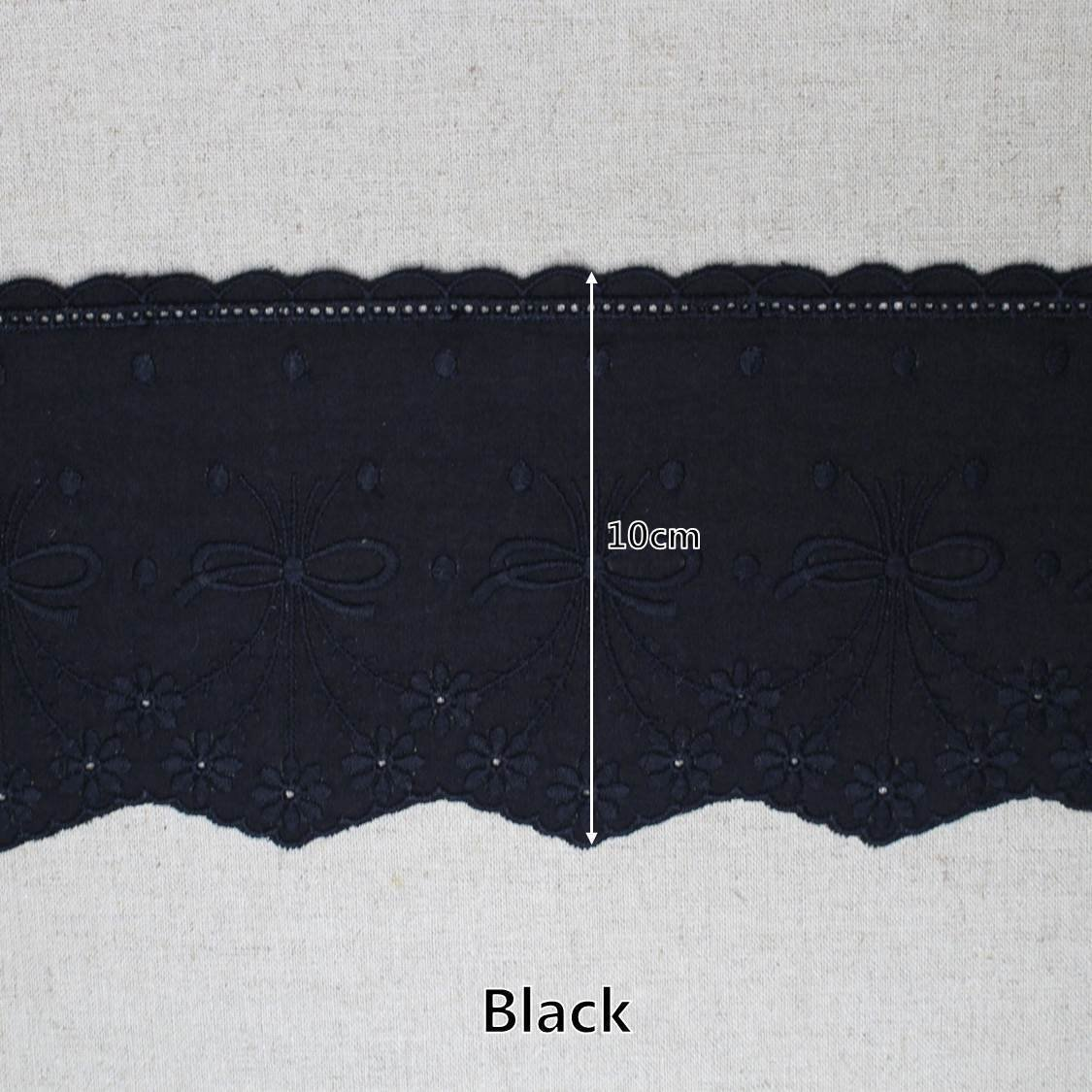 Black 14Yds Broderie Anglaise cotton eyelet lace trim 10cm YH1275A