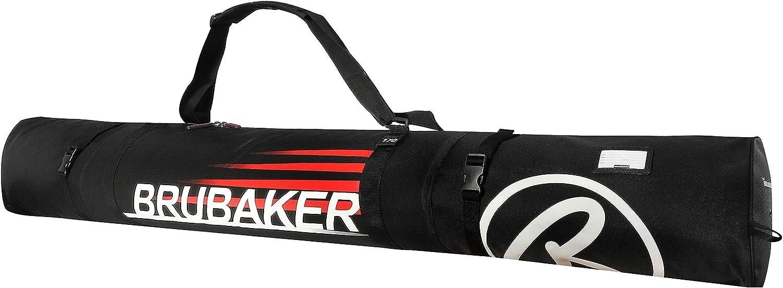 Chaussures Noir // Rouge Housse /à skis et Sac /à chaussures de ski pour 1 Paire de skis BRUBAKER Set de ski /'Champion/' 190 cm Casque B/âtons