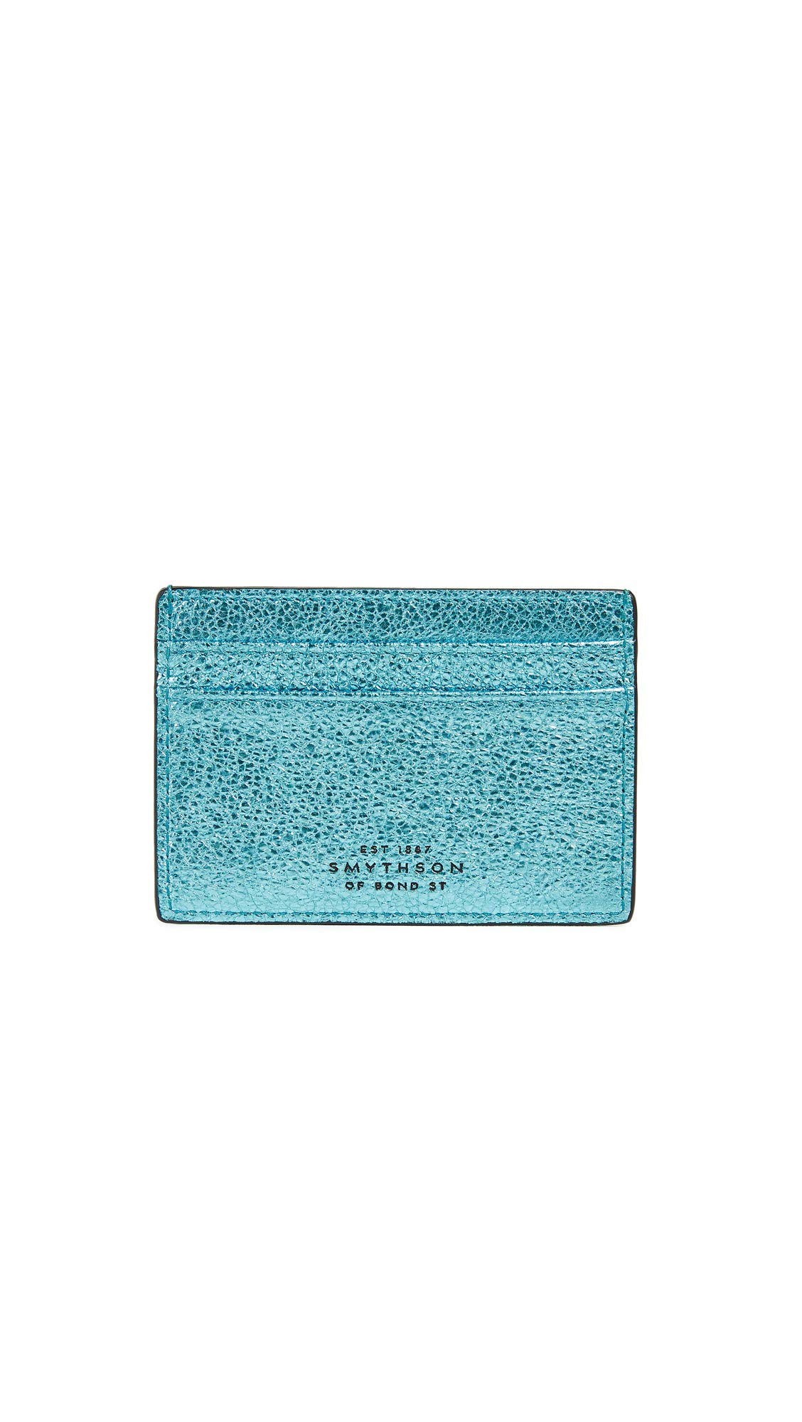 Smythson Women's Metallic Leather Flat Card Holder, Petrol Blue/Sky Blue, One Size