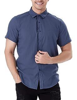 f3222e32 Aibrou Camisa Hombre Verano de Manga Corta de Algodón Camisas de Hombre  Lino Casual 2019