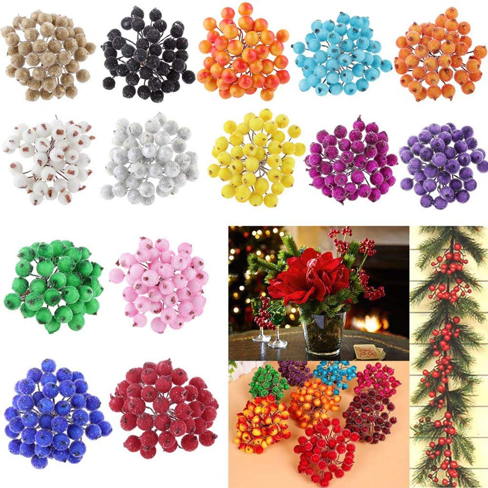 Red, 12cm//4.7in Pack of 120pcs Artificial Holly Berries Foam Frosted Fruit Holly Berry Table Centerpiece Mini Christmas Frosted Fruit Berry Holly Artificial Flower Decor