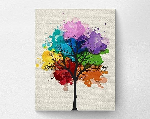 Amazoncom Chakra Rainbow Tree Wall Art Print Tree Nature Home