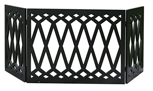 Zoogamo 3 Panel Diamond Pattern Design Pet Gate-19 Inches Tall and Expands Up to 48 Wide Durable Lightweight Extra Wide Wood Expandable Folding Home Indoor Outdoor Dog Fence
