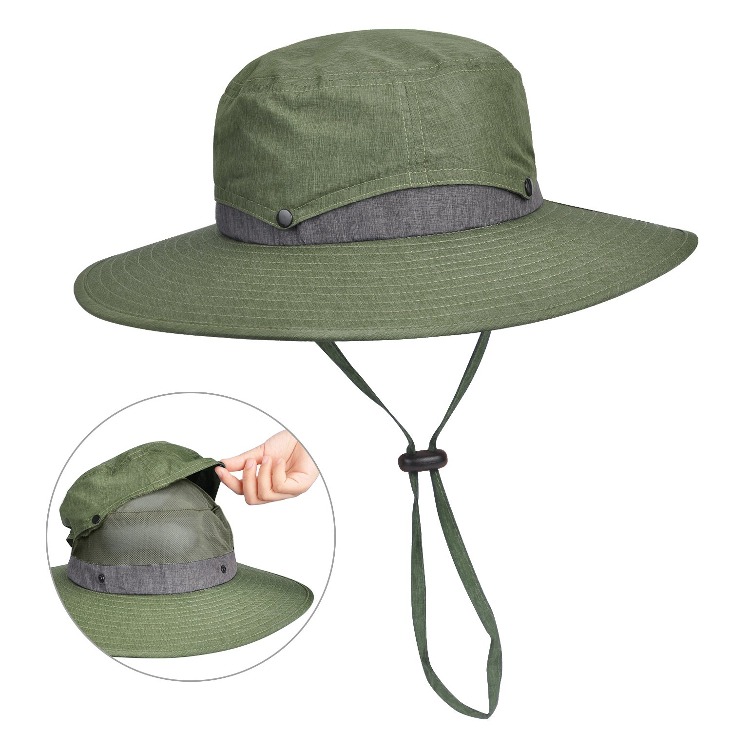 433c80d10084e Solaris Outdoor Sun Protection Hat Men Wide Brim Hunting Fishing Camping  Safari Cap with Collapsible Crown  Amazon.in  Clothing   Accessories