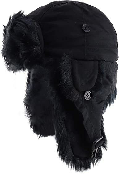DECKY Black Fur Aviator Hat