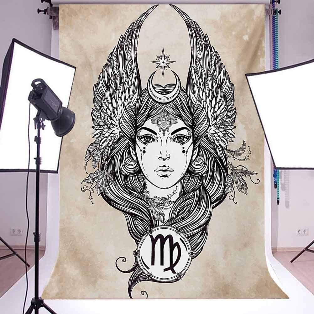 10x15 FT Backdrop Photographers,Astrological Icon with Girl Earth Element in Female Form Spiritual Graphic Design Background for Kid Baby Artistic Portrait Photo Shoot Studio Props Video Drape