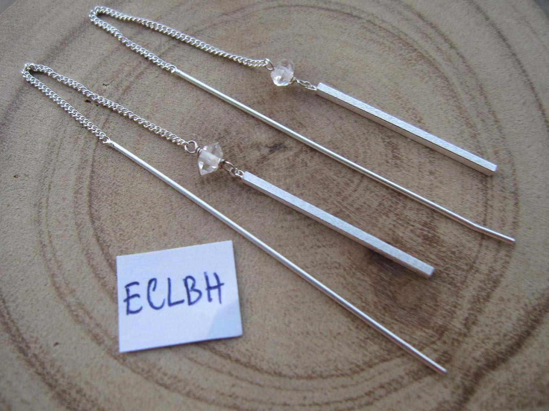 Herkimer Diamond 925 Sterling Silver Threader Earrings,Total Length 13 cm,ECLBH