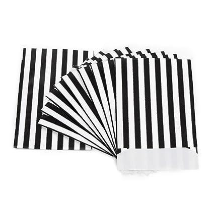 50 bolsas de papel de rayas negras y blancas, 13 x 18 cm ...