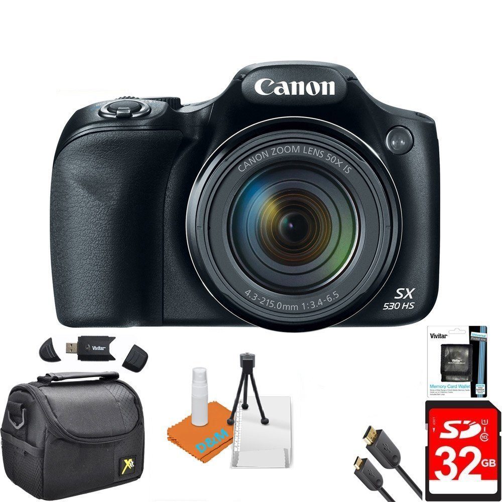 Canon Powershot SX530 HS 16MP Wi-Fi Super-Zoom Digital Camera 50x Optical Zoom Ultimate Bundle Includes Deluxe Camera Bag, 32GB Memory Cards, Tripod, Card Reader, HDMI Cable & More by DigitalandMore
