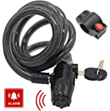 Bike Lock Anti-theft Alarm Bicycle Cable Locks with Lock Holder, 4-feet x 1/2-inch