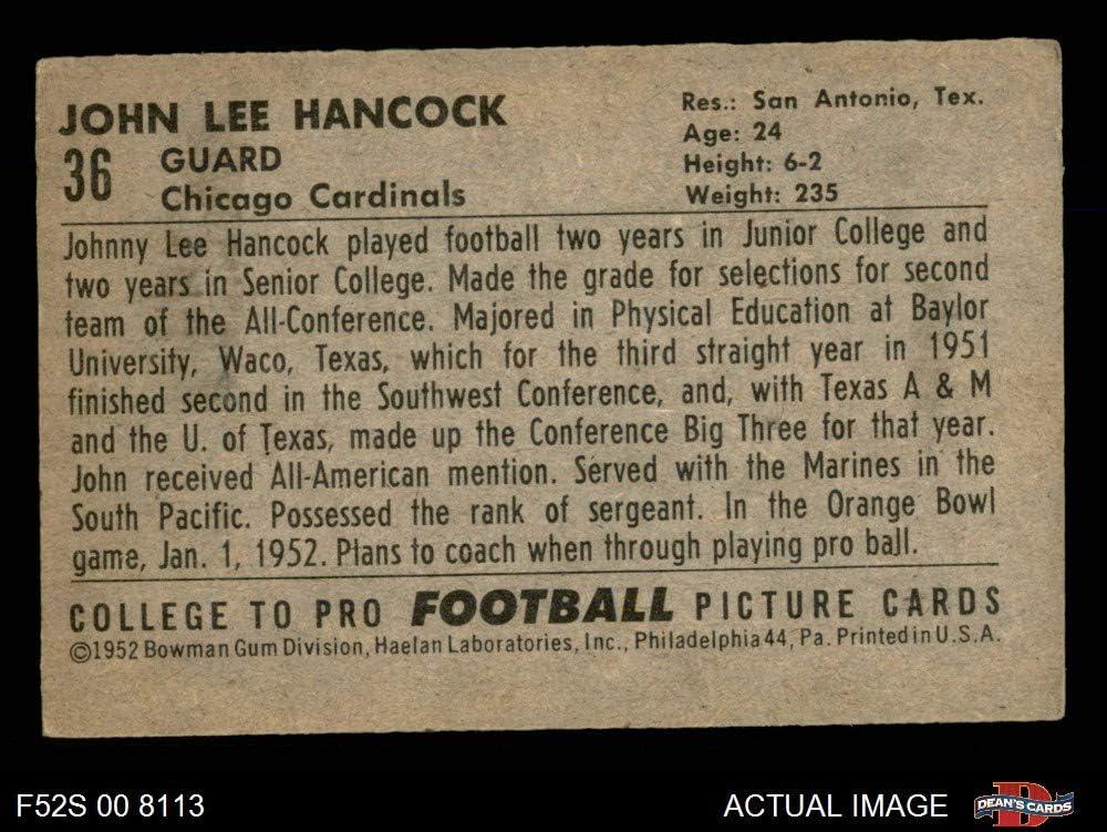 1952 Bowman Small # 36 John Lee Hancock Chicago Cardinals-FB (Football Card) Dean\'s Cards 4 - VG/EX Cardinals-FB Baylor 71m9ApBIQ3L