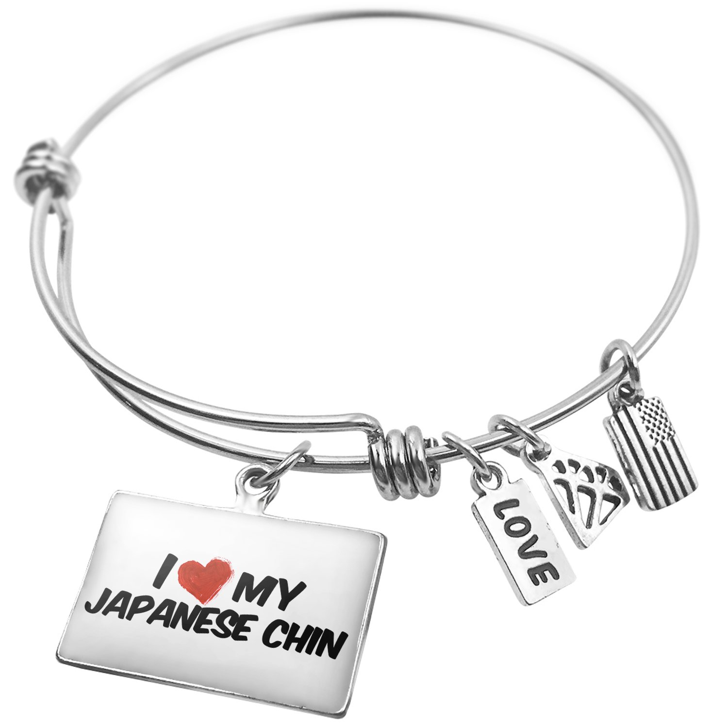 NEONBLOND Expandable Wire Bangle Bracelet I Love My Japanese Chin Dog from Japan