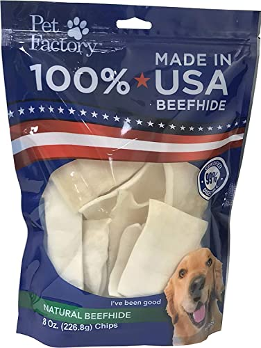 Pet Factory 78138 Beefhide Dog Chews, 99 Digestible Rawhide Treats, 100 Natural Rawhide Chips, 8 oz Resealable Package, Made in USA