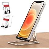 Cell Phone Stand for Desk, Senose Portable Foldable Metal Desk Phone Holder, Adjustable Cradle Dock Base Compatible with iPho
