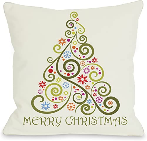 One Bella Casa Merry Christmas Whimsical Tree Throw Pillow by OBC, 26 x 26 , Multi