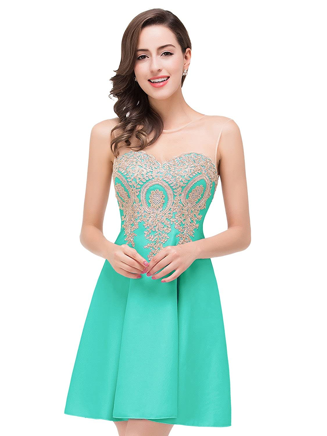 856354f20e6 Babyonline Lace Appliques Short Prom Dresses 2016 Homecoming Dress For  Juniors at Amazon Women s Clothing store